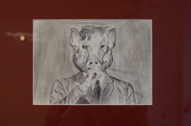 "Sandra Hauser ""Schhhhhh"" 2018, pencil, fineliner on paper, framed, 13 x 18 cm/ 52,5 x 72,5 cm"