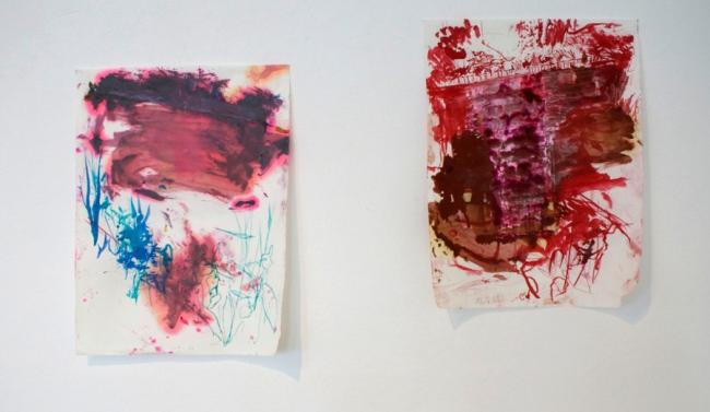"""Klaus Winichner """"Panke (15.6.2021)"""", 2021, Tusche, Wasserfarbe auf Baumwollpapier 30 x 22,7 cm / Klaus Winichner """"Panke (12.6.2021)"""", 2021, Tusche, Öl auf Baumwollpapier 30 x 22,7 cm"""