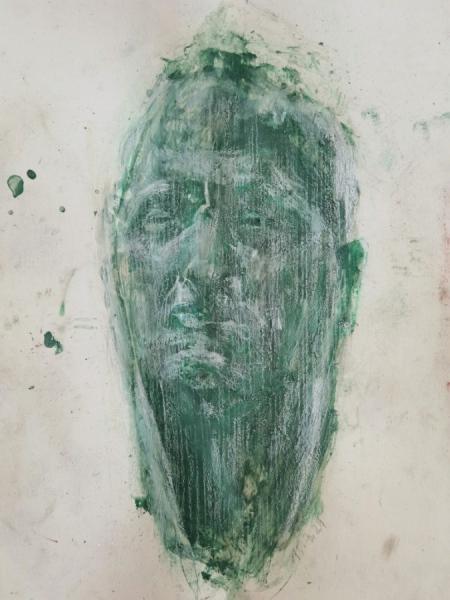 Klaus Winichner, o.T. (15.3.2021) 2021, Pigment (Malachit), Buntstift auf Papier 34,7 x 25 cm, Galerie Sandra Bürgel, Berlin