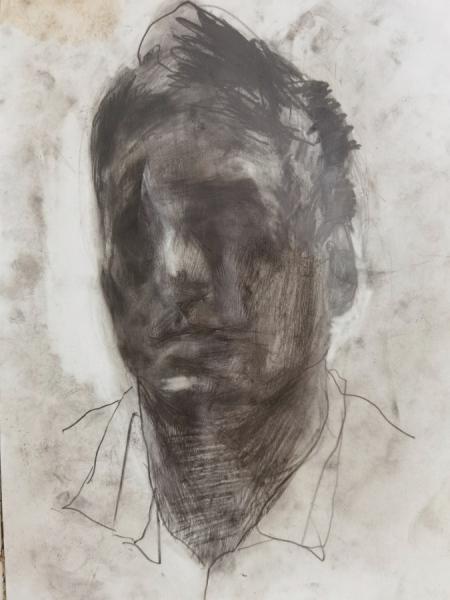 Klaus Winichner, o.T. (2.7.2021), 2021Graphit und Silber auf Papier 35 x 25 cm, Galerie Sandra Bürgel, Berlin