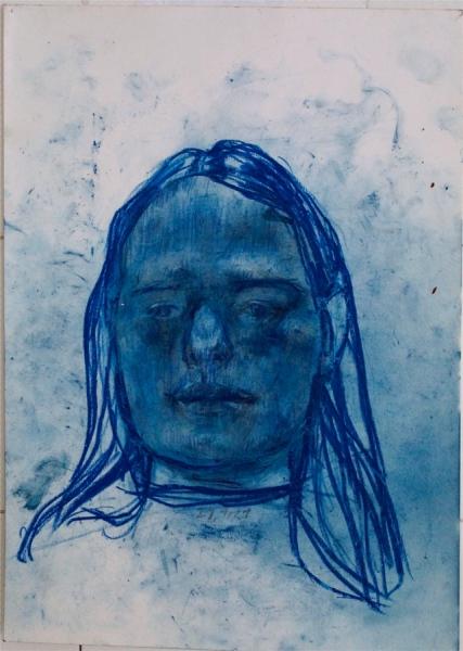 Klaus Winichner, o.T. (28.1.2021), 2021, Pigment (Preussischblau), Buntstift auf Papier 35 x 25 cm, Galerie Sandra Bürgel, Berlin