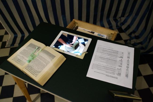 """Sandra Hauser, """"Hauser & Bürgel spielen Lockdown"""", Galerie Sandra Bürgel, Nov 2020 (child's desk """"self management at home"""")"""