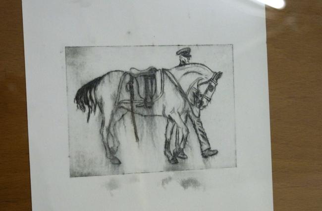 "Sandra Hauser, ""Riderless Horse"", 2020, Aquatinta, 11 x 15 cm, Ed. 1/ 46, ""Hauser & Bürgel spielen Lockdown"", Galerie Sandra Bürgel, Berlin Nov 2020"