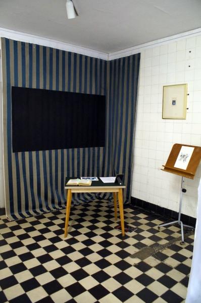 "Sandra Hauser ""Hauser & Bürgel spielen Lockdown"" - ""Paganini Tessuti"" 2020, cotton Lampasso 432 blue, blackboard paint, 300x300 cm / ""Riderless Horse"", Aquatinta, Ed. 1/ 46 / ""Münchhausen"", Laserprint, pencil, dirt, 51 x 41 cm"