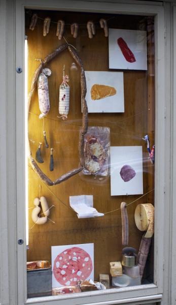 """Sandra Hauser, """"Mein Schwein!"""", meat display: S. Baumgärtner, C. Biocca, G. Blum & P. Nolte, K.J. Britchford, A. McCarthy, Damenkapelle / Edition Pfaller, L. Gätjens, M. Glas, S. Hauser, K. Heinrichs, S. Kessler, E. Monetti, D. Pyttel, L. Reitmeier, A. Salvino, L. Scotto di Luzio, W. Stehle, T. Živanović-Wegele), Galerie Sandra Bürgel 2018"""