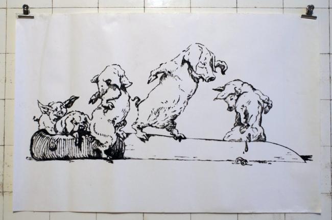 """Sandra Hauser """"Künstlerpech"""" 2018, oil on found paper, 65 x 100 cm"""