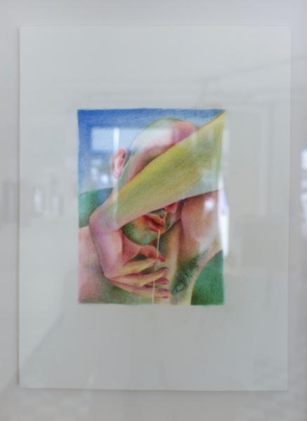 "Lukas Lucius Leichtle ""untitled (arm gesture with saliva)"" 2021 clouded pencil, pastel on Arches, 31 x 23 cm. Passive Aggressive, Galerie Sandra Bürgel, Berlin 2021"