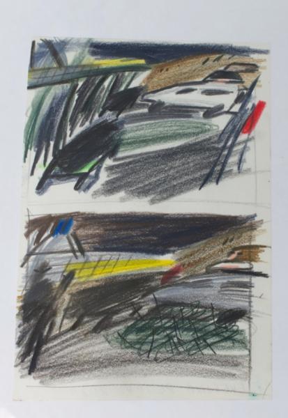 "Evelina Reiter ""Nollendorfplatz"" 2021 pencil, coloured pencil on paper, 29,5 x 21 cm. Passive Aggressive, Galerie Sandra Bürgel, Berlin 2021"