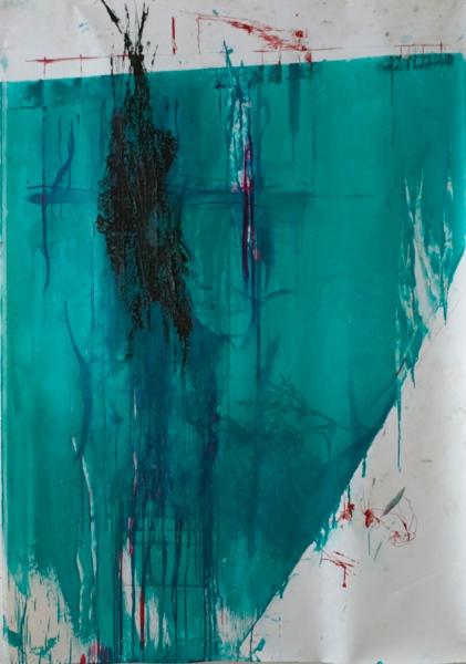 Klaus Winichner, o.T., 2021, Pigment (Cobalttürkis)), Mohnöl, Gouache, Tusche auf Leinwand 190 x 132 cm, Galerie Sandra Bürgel, Berlin