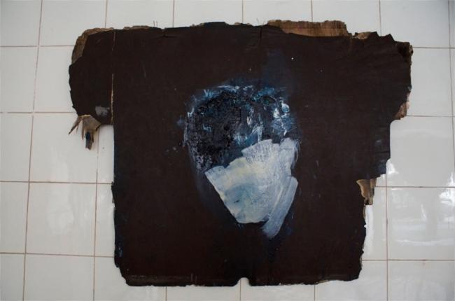 """Klaus Winichner, """"Peireira"""", 2021, Pigment (Phtalo Turquoise, Zinkweiß), Mohnöl auf Schichtholz 71 x 53 cm, Galerie Sandra Bürgel, Berlin"""
