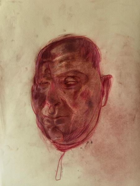 Klaus Winichner, o.T. (16.10.2020), 2020, Pigment (Eisenoxid), Buntstift auf Ingres Bütten 40,5 x 30,5 cm, Galerie Sandra Bürgel, Berlin
