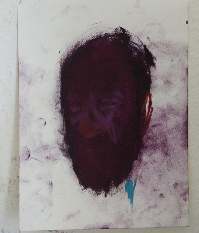 Porträt Klaus Winichner Lockdown Pigment self portrait