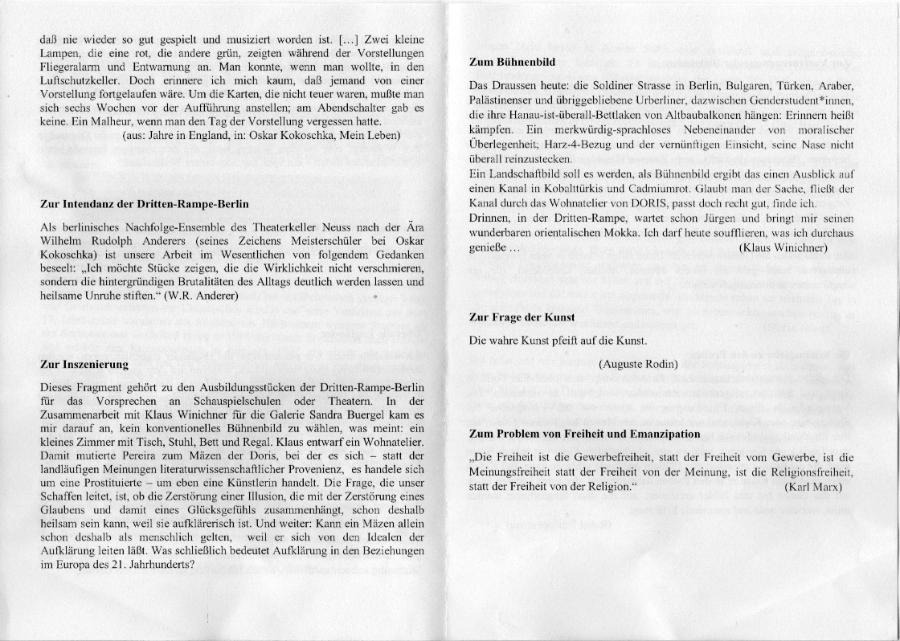 Klaus Winichner Dritte Rampe Berlin T.S.Eliot Doris Sweeney Agonistes